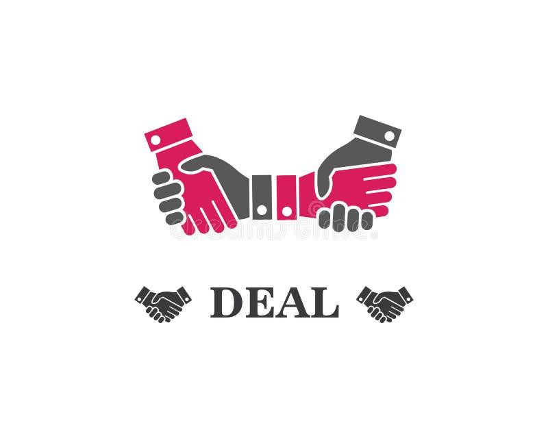 het vectorpictogram van het handdrukembleem van bedrijfsovereenkomst vector illustratie
