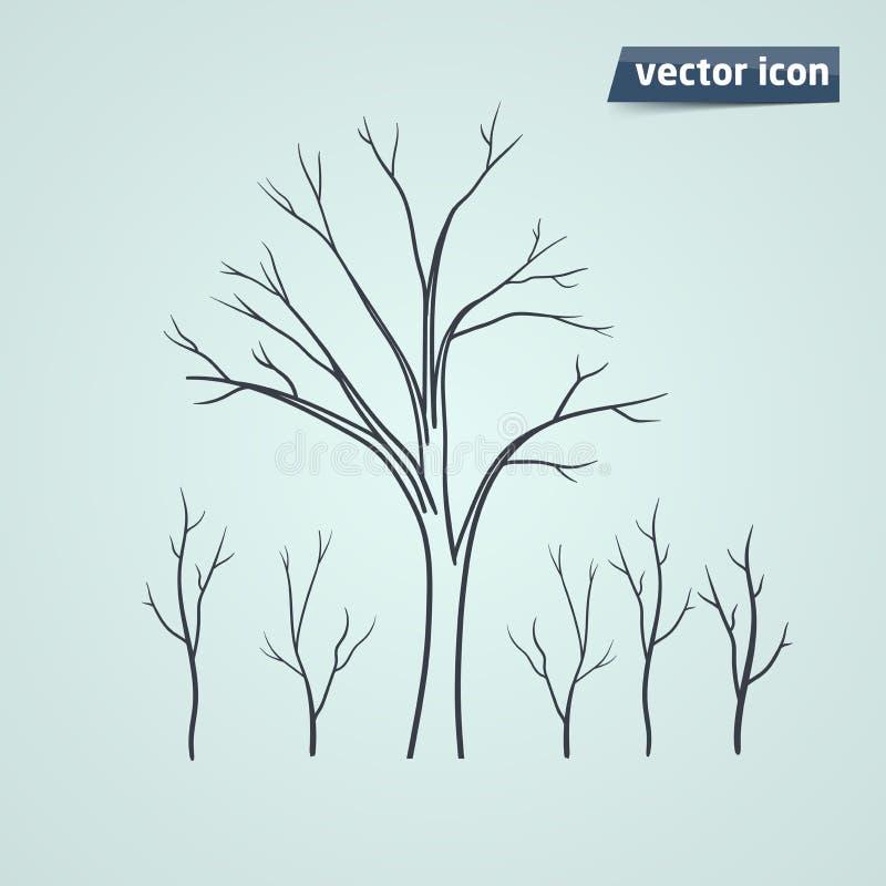 Het vectorpictogram van het boomsilhouet royalty-vrije illustratie