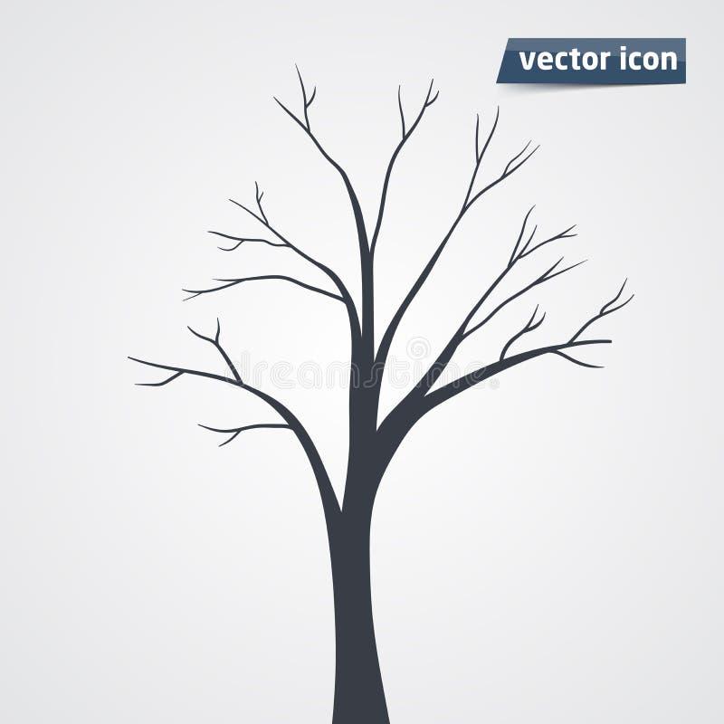 Het vectorpictogram van het boomsilhouet stock illustratie