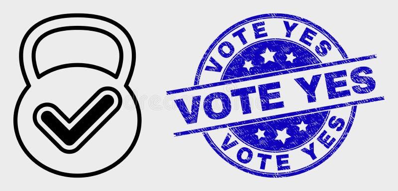 Het vectorpictogram van het Lijn Geldige Gewicht en de Gekraste Stem stempelen ja Verbinding royalty-vrije illustratie