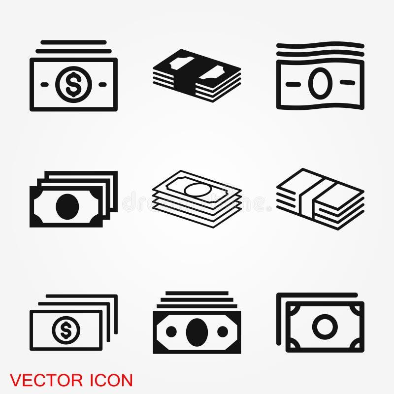Het vectorpictogram van muntbankbiljetten De illustratiestijl is vlakke iconisch royalty-vrije stock foto