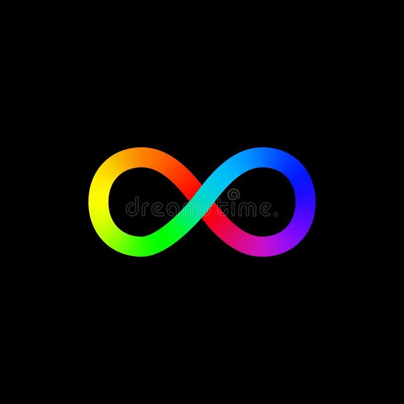 Het vectorpictogram van het Oneindigheidssymbool Embleemmalplaatje Lijnontwerp Regenboog stock illustratie