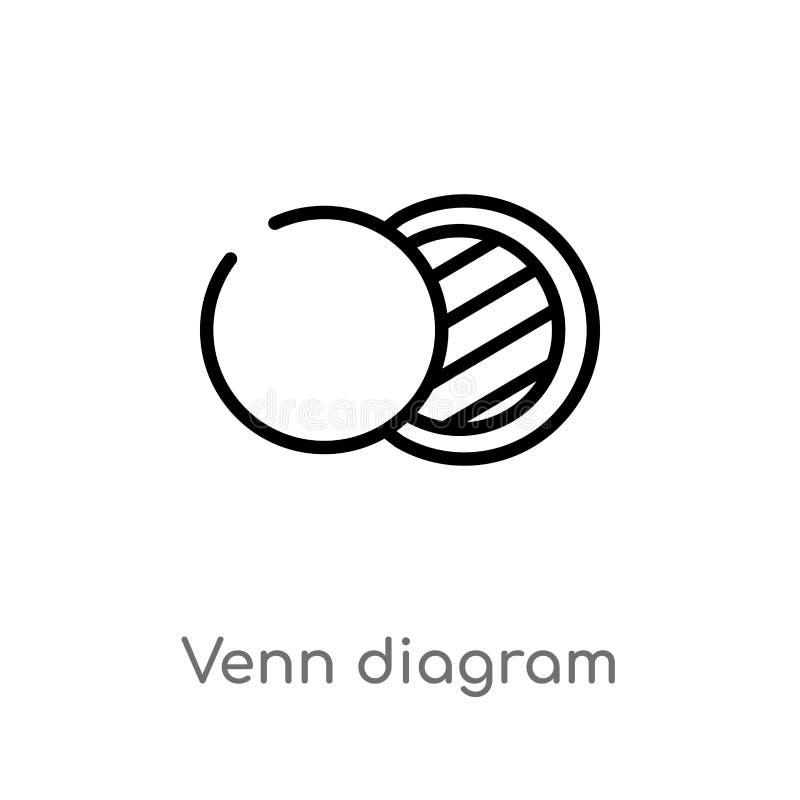 het vectorpictogram van het overzichts venn diagram de ge?soleerde zwarte eenvoudige illustratie van het lijnelement van analytic vector illustratie