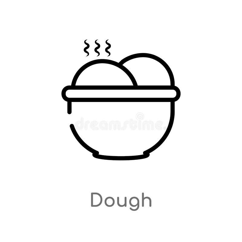 het vectorpictogram van het overzichtsdeeg de ge?soleerde zwarte eenvoudige illustratie van het lijnelement van gastronomieconcep royalty-vrije illustratie