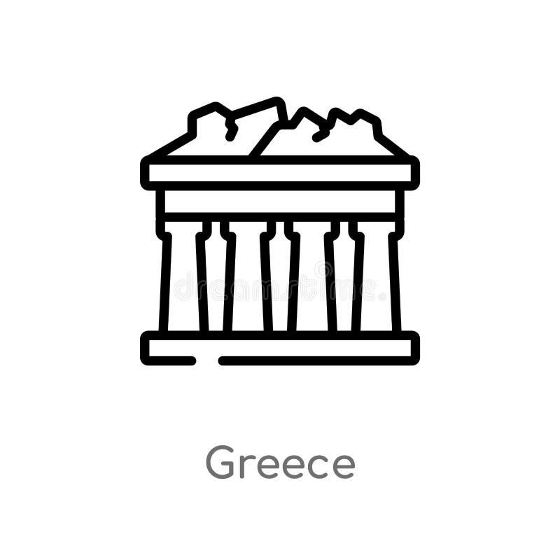 het vectorpictogram van overzichtsgriekenland de ge?soleerde zwarte eenvoudige illustratie van het lijnelement van gebouwenconcep stock illustratie