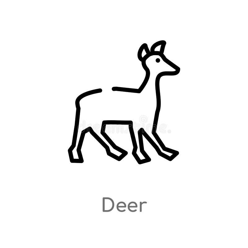 het vectorpictogram van overzichtsherten de ge?soleerde zwarte eenvoudige illustratie van het lijnelement van dierenconcept het e stock illustratie