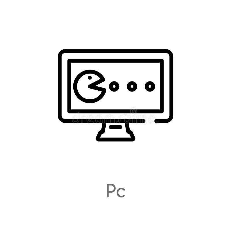 het vectorpictogram van overzichtspc de geïsoleerde zwarte eenvoudige illustratie van het lijnelement van arcadeconcept het edita vector illustratie