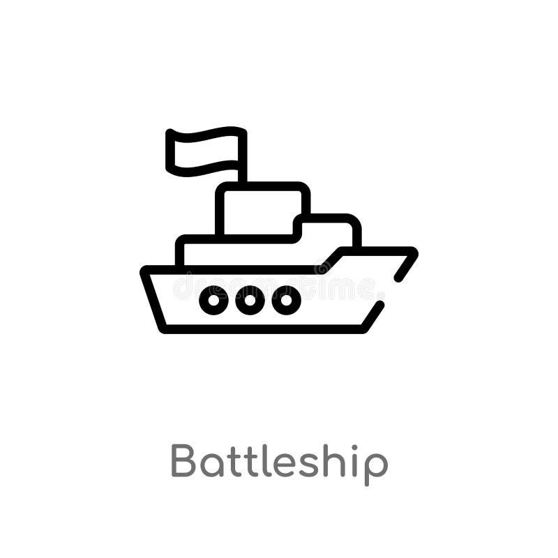 het vectorpictogram van het overzichtsslagschip royalty-vrije illustratie