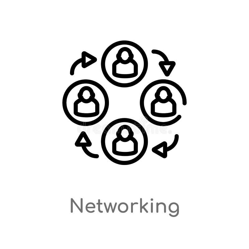 het vectorpictogram van het overzichtsvoorzien van een netwerk de ge?soleerde zwarte eenvoudige illustratie van het lijnelement v royalty-vrije illustratie