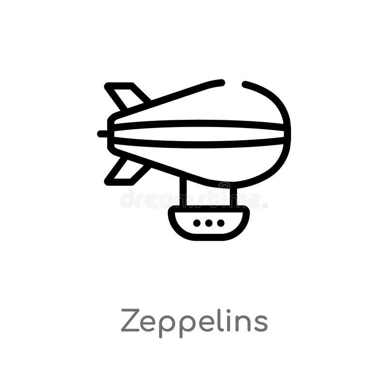 het vectorpictogram van overzichtszeppelinnen de ge?soleerde zwarte eenvoudige illustratie van het lijnelement van vervoerconcept stock illustratie