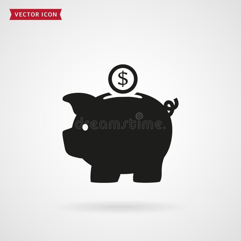 het vectorpictogram van het spaarvarken royalty-vrije illustratie