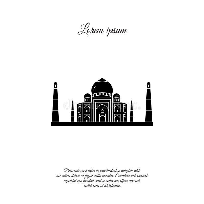 Het vectorpictogram van Taj Mahal, teken royalty-vrije illustratie