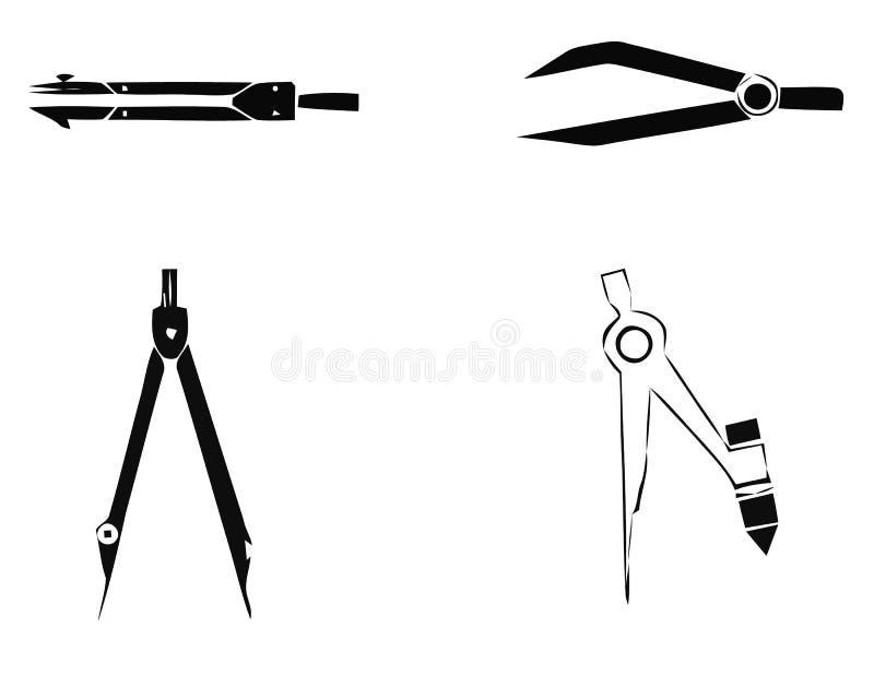Het vectorpictogram van het tekeningskompas gevuld vlak teken voor mobiel concept en Webontwerp Verdeler stevig pictogram Symbool vector illustratie