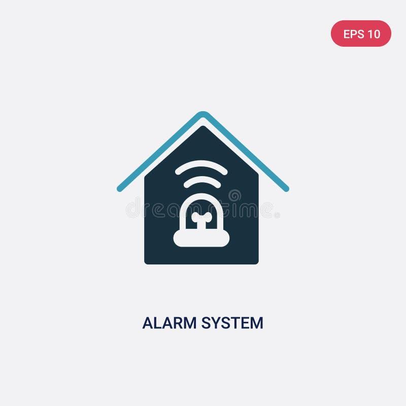 Het vectorpictogram van het twee kleurenalarmsysteem van slim huisconcept het ge?soleerde blauwe symbool van het alarmsysteem vec stock illustratie