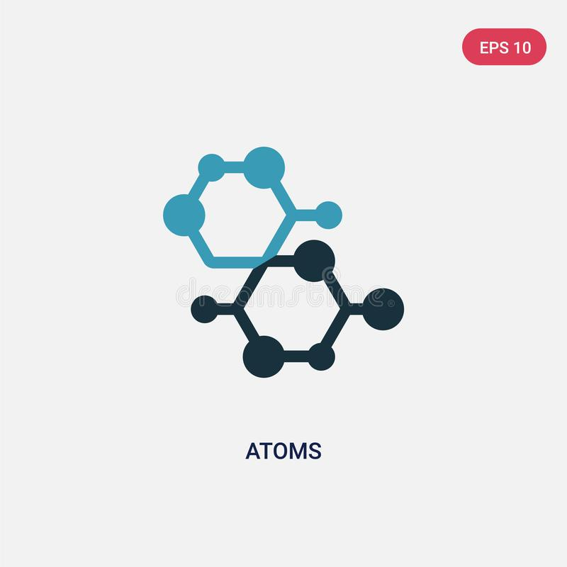 Het vectorpictogram van twee kleurenatomen van wetenschapsconcept het geïsoleerde blauwe symbool van het atomen vectorteken kan g vector illustratie