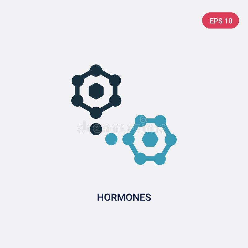 Het vectorpictogram van twee kleurenhormonen van saunaconcept het geïsoleerde blauwe symbool van het hormonen vectorteken kan geb royalty-vrije illustratie