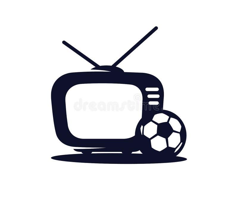 Het vectorpictogram van voetbaltv in een vlakke die stijl op wit wordt geïsoleerd Sportentv Uitzending van de voetbalwedstrijd stock illustratie