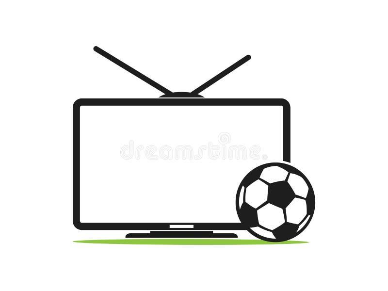 Het vectorpictogram van voetbaltv in een vlakke stijl die op wit wordt geïsoleerd TV van de voetbal Sportentv Uitzending van de v stock illustratie