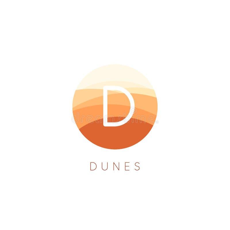 Het vectorpictogram van zandduinen Het embleemmalplaatje van het woestijnlandschap Abstracte ronde vlakke stijl logotype vector illustratie