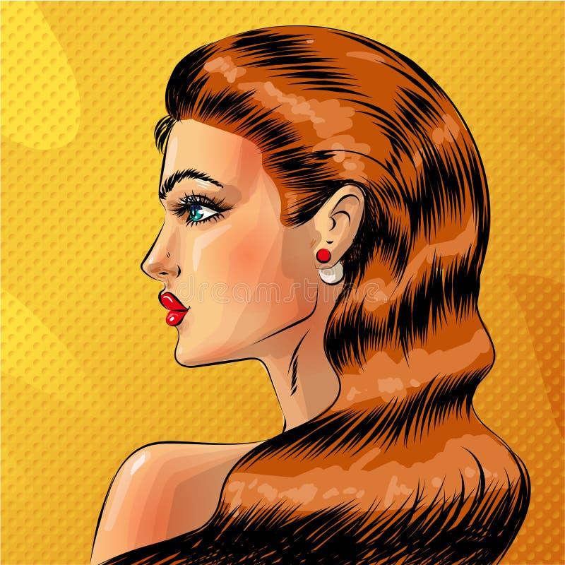 Het vectorportret van de pop-art mooie redheaded vrouw royalty-vrije illustratie