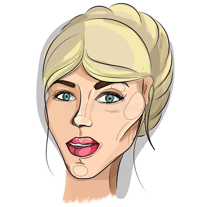 Het vectorportret van een jonge leuke vrouw met blond haar verzamelde in een mooi kapsel en een lichte verse samenstelling af:dru vector illustratie