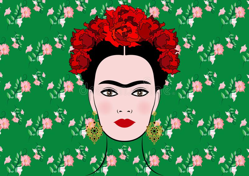 Het vectorportret van Frida Kahlo, jonge mooie Mexicaanse vrouw met een traditioneel kapsel, geïsoleerde of bloemenachtergrond royalty-vrije illustratie