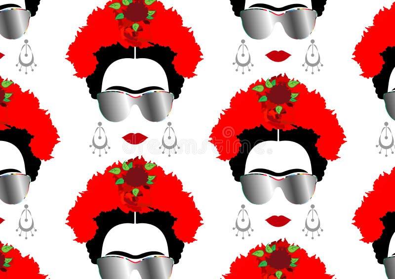 Het vectorportret van Frida Kahlo met zonglazen, geïsoleerde of witte achtergrond vector illustratie