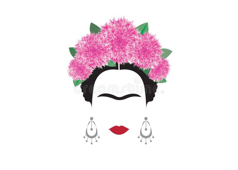 Het vectorportret van Frida Kahlo, mooi Mexicaan of Spaanse met een traditioneel kapsel, vector stock illustratie