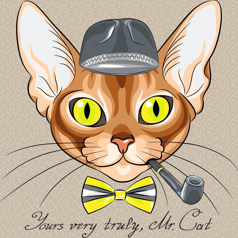 Het vectorras van Abyssinian van de beeldverhaal hipster rode kat royalty-vrije illustratie