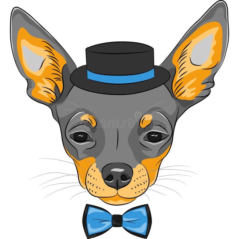Het vectorras van Chihuahua van de beeldverhaal hipster hond royalty-vrije illustratie