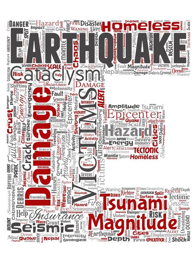 Het vectorrood van de de brievendoopvont E van de aardbevingsactiviteit stock illustratie