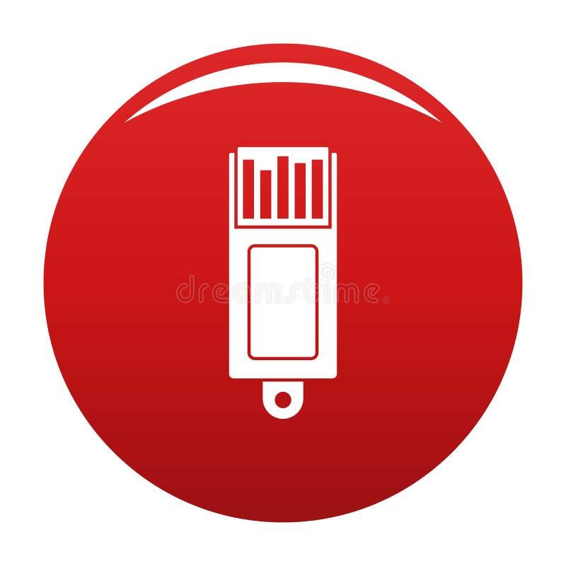 Het vectorrood van het informatie usb pictogram stock illustratie