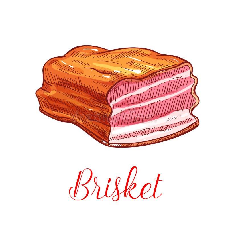 Het vectorschets geïsoleerde pictogram van het borststukvlees stock illustratie