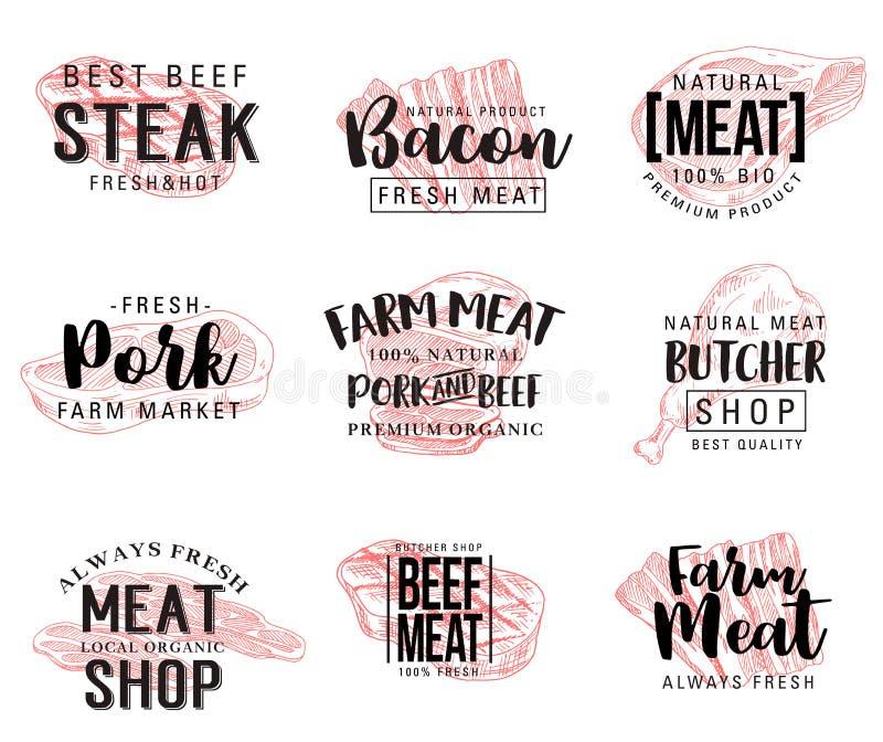 Het vectorschets van letters voorzien voor vleeswaren vector illustratie