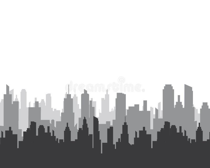 het vectorsilhouet van de stadshorizon stock illustratie