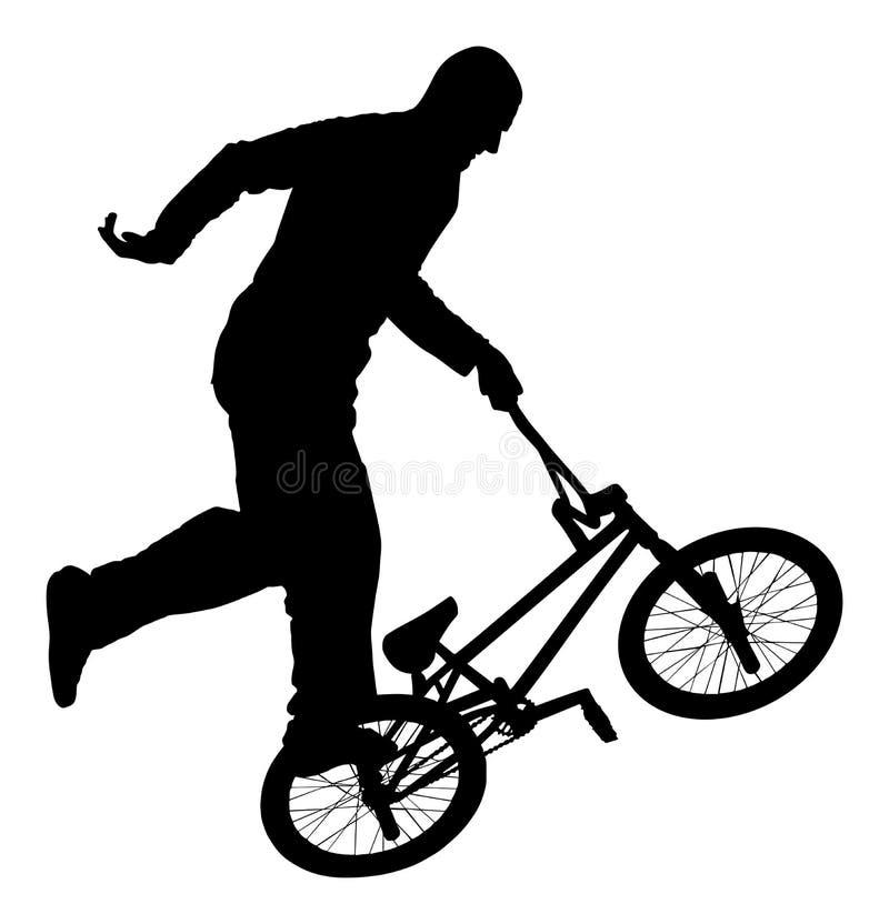 Het vectorsilhouet van fietsstunts Fietsuitvoerder het uitoefenen van acrobatisch cijfer Compliceer truc vector illustratie