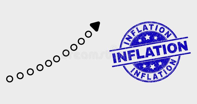 Het vectorslag Gestippelde omhoog Pictogram van de Tendenspijl en de Gekraste Verbinding van de Inflatiezegel royalty-vrije illustratie