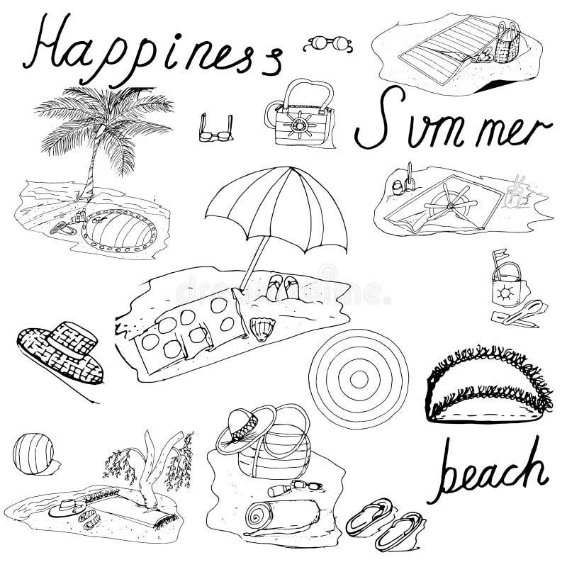 Het vectorstrand van de de zomer hoogste mening met golven, paraplu's, strandhanddoeken, palmen, zeester, sandals, strandballen e vector illustratie