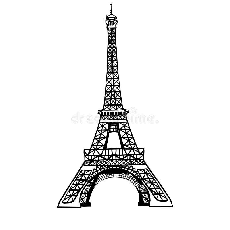 Het vectorsymbool van het de Torenhand getrokken oriëntatiepunt van schets zwarte Eifel van Parijs, Frankrijk Groot voor Franse u vector illustratie