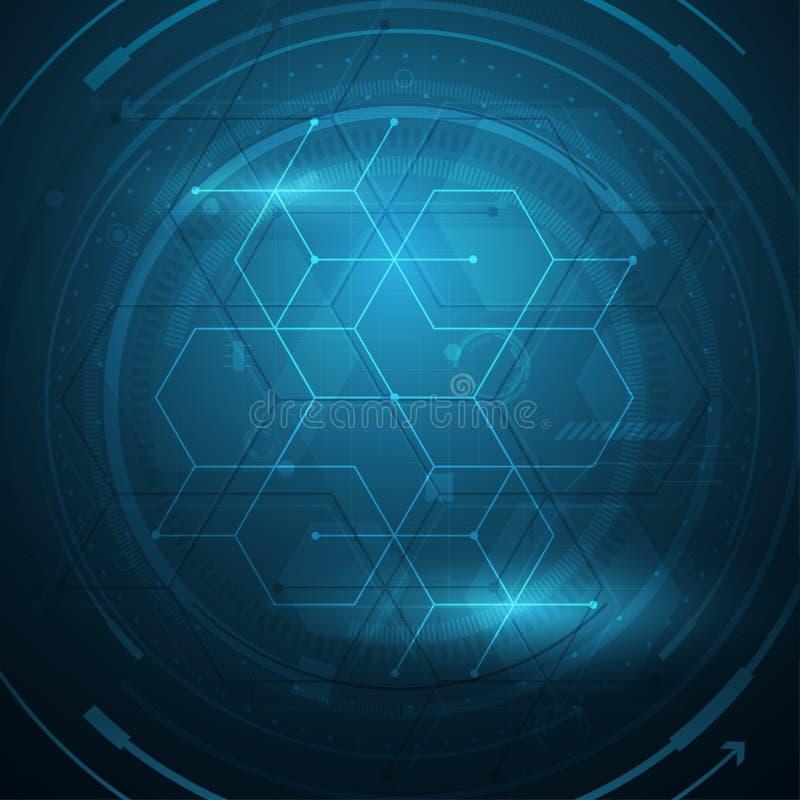 Het vectortechnologie-ontwerp van het achtergrond hexagon kubus cirkelpatroon vector illustratie