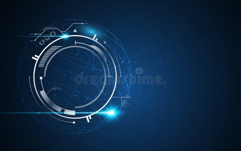 Het vectortechnologie-van van het achtergrond bolontwerp concept van FI innovatiesc.i hud vector illustratie