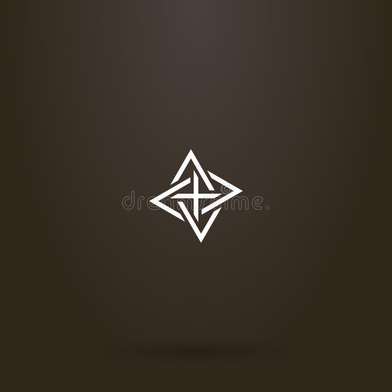 Het vectorteken die van de lijnkunst van vier ineengestrengelde driehoeken verschillende richtingen richten stock illustratie