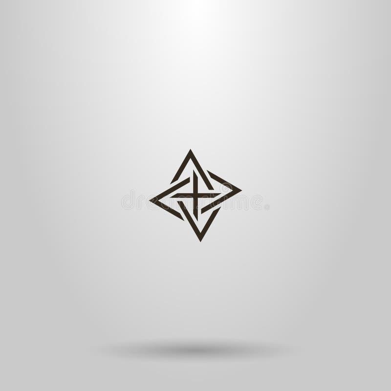 Het vectorteken die van de lijnkunst van vier ineengestrengelde driehoeken verschillende richtingen richten vector illustratie