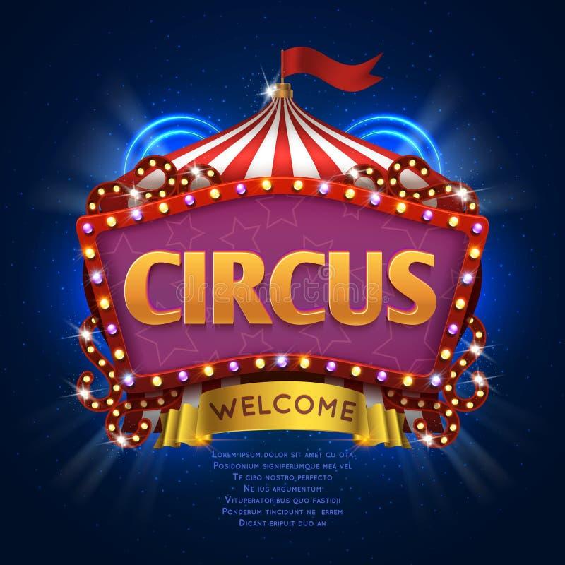 Het vectorteken van circuscarnaval met gloeilampenkader royalty-vrije illustratie
