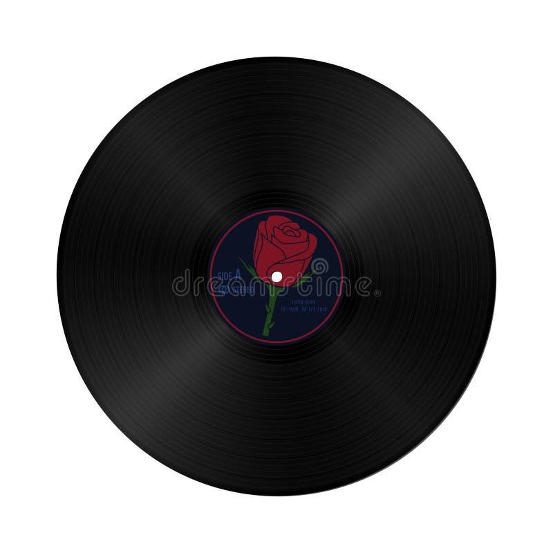 Het vectorverslag van grammofoonvynil in retro stijl met geel etiket Uitstekende audio plastic schijf vector illustratie