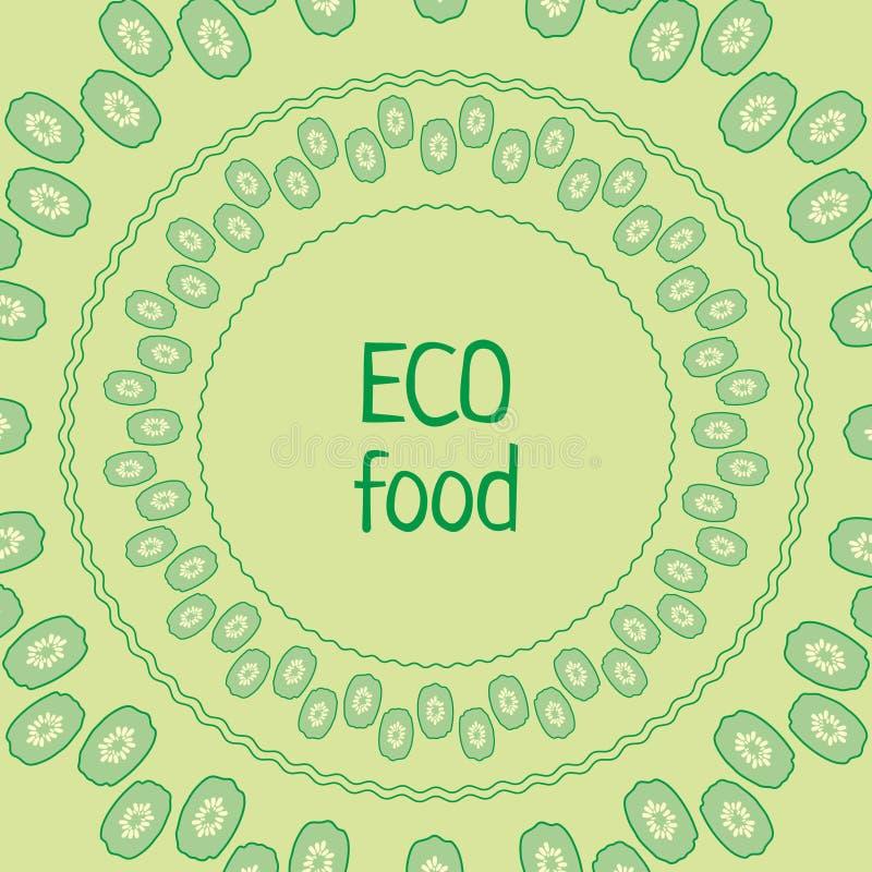 Het vectorvoedsel van de cirkeleco van de malplaatjekomkommer groene royalty-vrije stock foto's