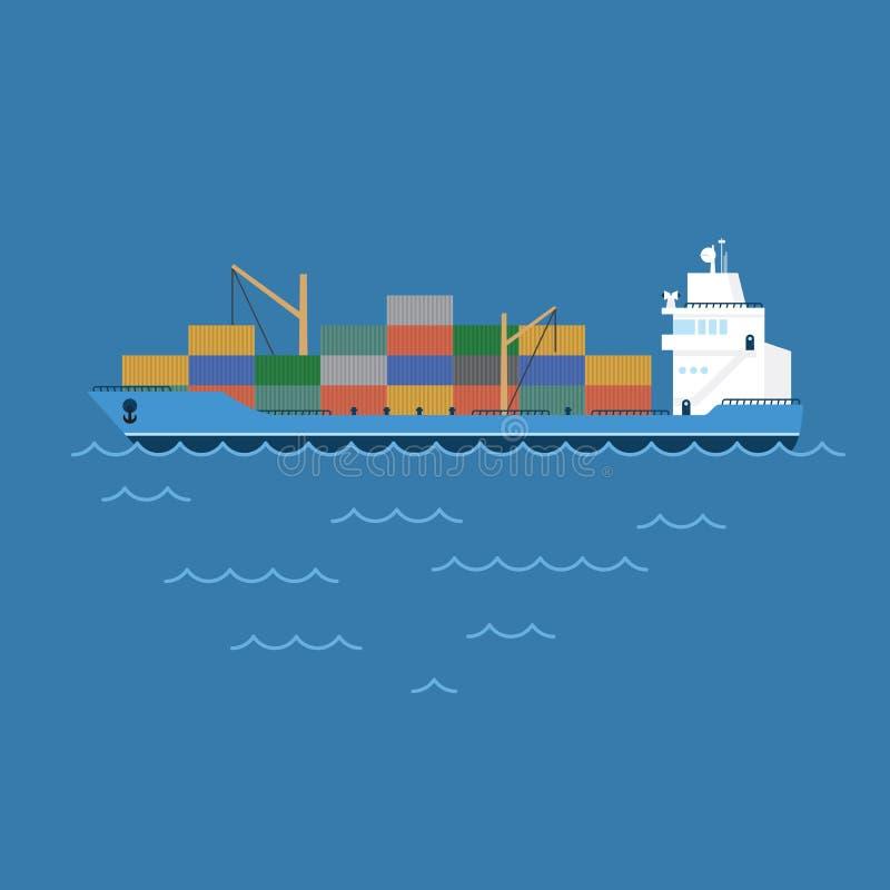 Het vectorvrachtschip dat van de illustratieaak containers vervoert die op het overzees drijven royalty-vrije illustratie