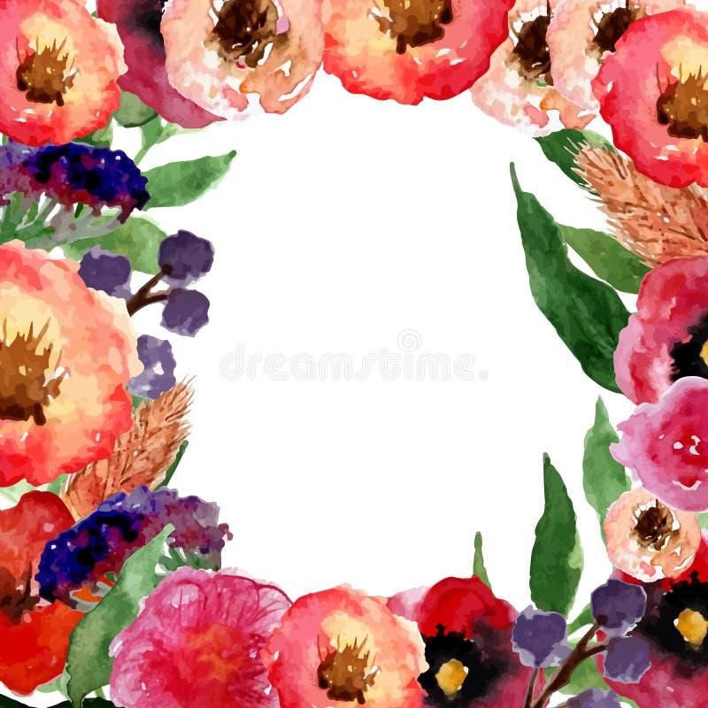 Het vectorwaterverf bloemenkader met wijnoogst gaat weg en bloeit Artistiek ontwerp voor banners, groetkaarten, verkoop, affiches stock illustratie