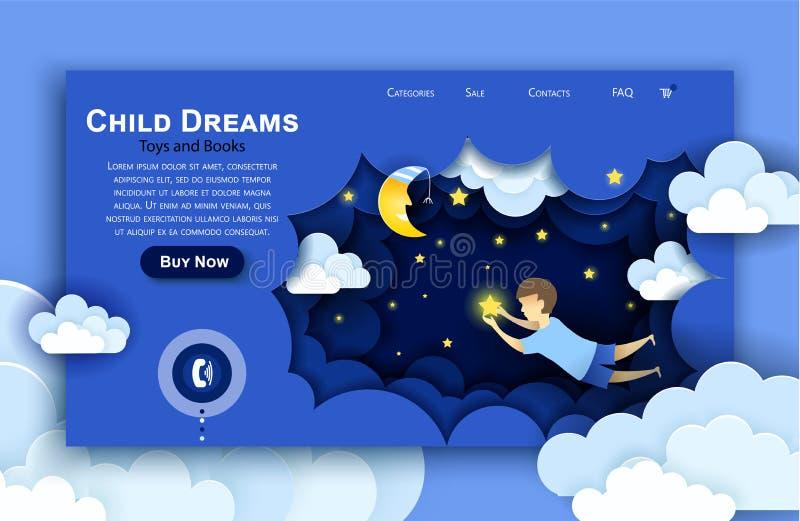 Het vectorwebsitedocument malplaatje van het kunstontwerp Kind wat betreft de sterren in de hemel Jonge geitjesdroom Landende pag stock illustratie
