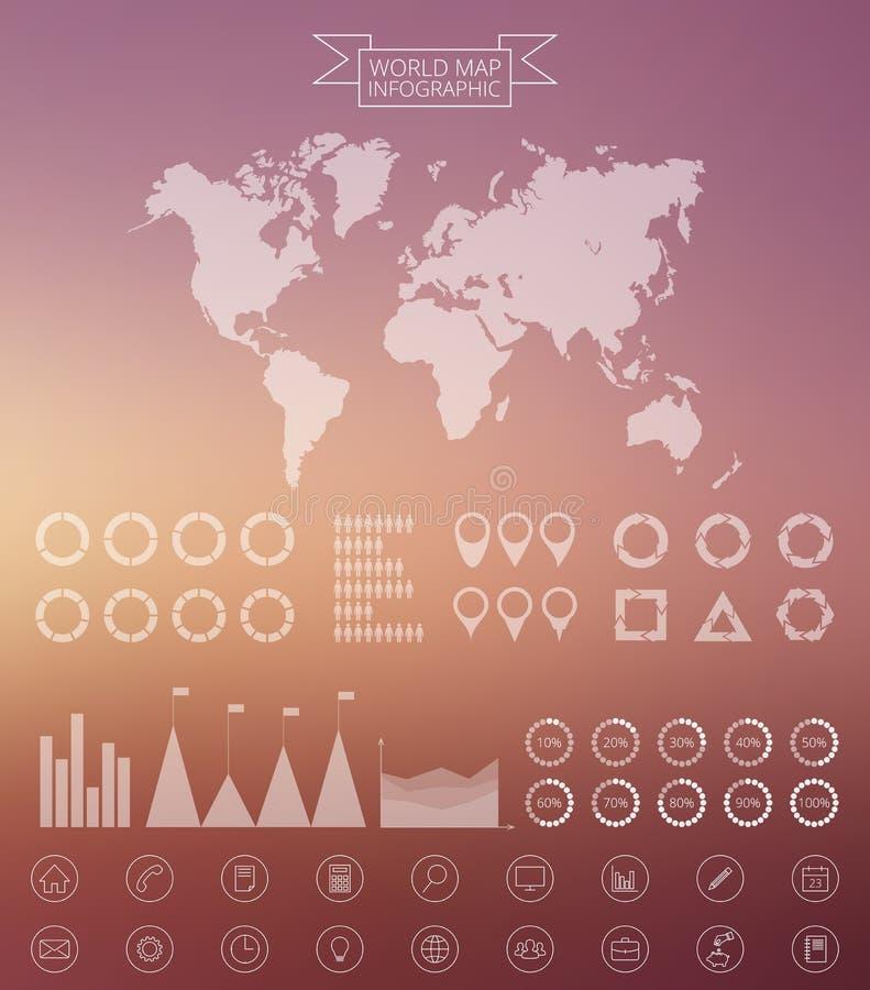 Het vectorwereldkaart en malplaatje van het infographicsontwerp royalty-vrije illustratie